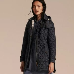 Burberry Finsbridge Long Quilted Black Jacket NWT